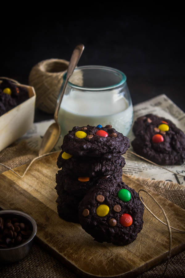 chocolate m&m cookies 3