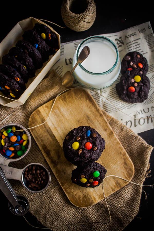 chocolate m&m cookies 4