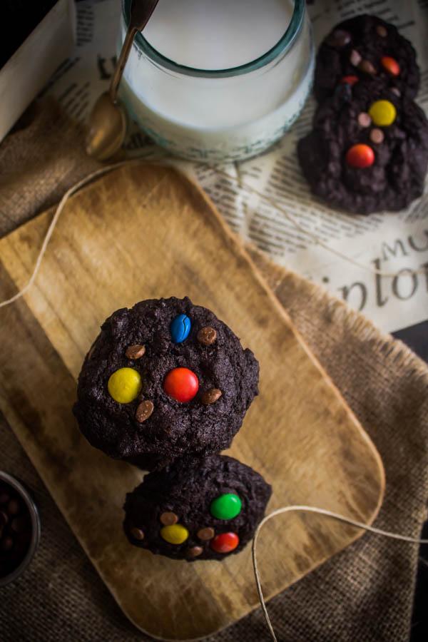 chocolate m&m cookies 5