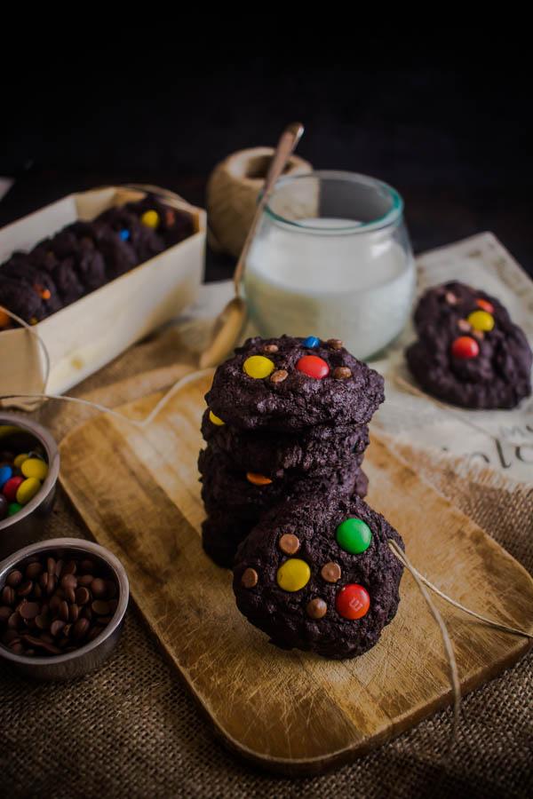 chocolate m&m cookies 7