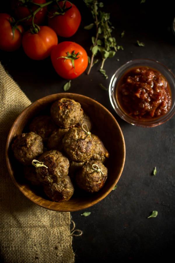 stuffed meatballs & tomato chutney 2