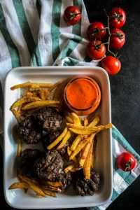 mini burger patties oven fried chips romesco sauce 1 (1 of 1)