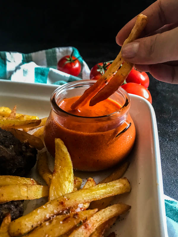 mini burger patties oven fried chips romesco sauce 8 (1 of 1)