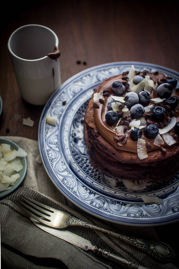 chocolate oat pancakes 5