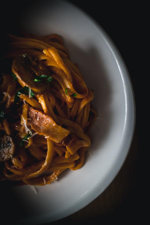 bacon mushroom alla vodka pasta-4